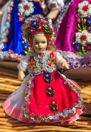 Romanian traditional colorful handmade doll Stock fotó