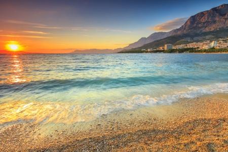 adriatic sea: Beautiful sunset over the sea,Makarska,Croatia