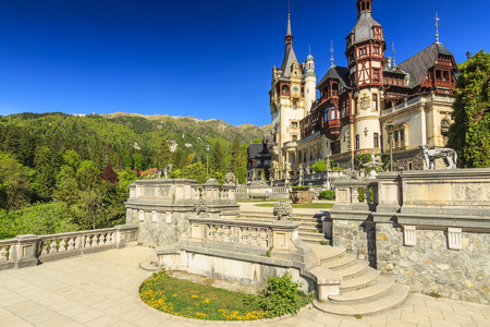 Luxury museum and artistic garden,Peles Castle,Sinaia,Romania