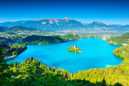 bled: Bled Lake panorama,Slovenia,Europe Stock Photo