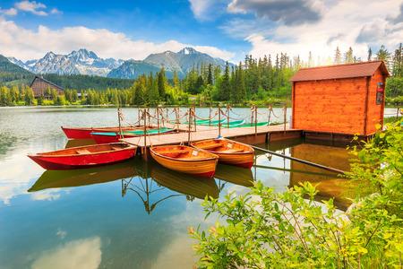fishing huts: Wonderful mountain lake in National Park High Tatra,Strbske Pleso,Slovakia