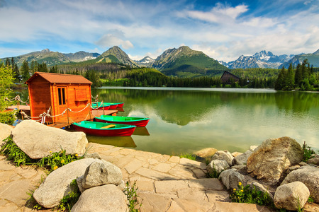 Wonderful mountain lake in National Park High Tatra,Strbske Pleso,Slovakia