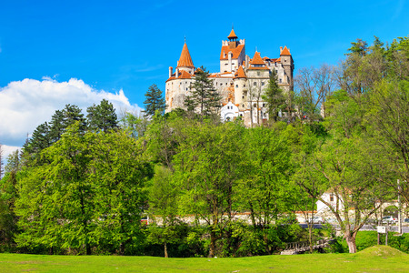 transylvania: Bran castle and spring landscape,Transylvania,Romania