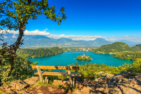 bled: Lake Bled with St Marys church on the small island,Bled,Slovenia,Europe Editorial