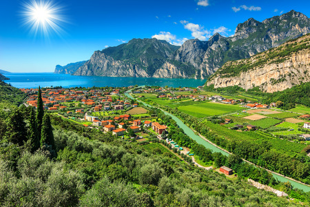 Beautiful sunny day on Lake Garda,Torbole.Italy,Europe