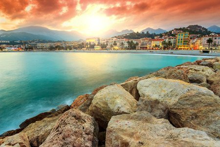 cote d'azur: Majestic sunset on the beach,Menton,Cote dAzur,France,Europe Stock Photo