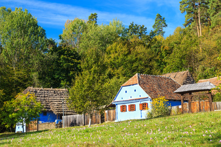 Traditional old Transylvanian houses,Astra Ethnographic Museum,Sibiu,Romania,Europe