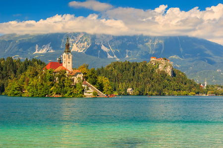 bled: Lake Bled with St Mary Stock Photo
