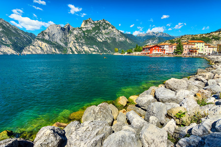 garda: High mountains,lake and city,Lake Garda,Torbole,Italy,Europe