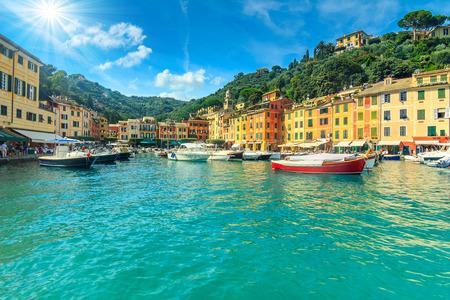 europe: Portofino panorama,luxury harbor and colorful houses,Liguria,Italy,Europe