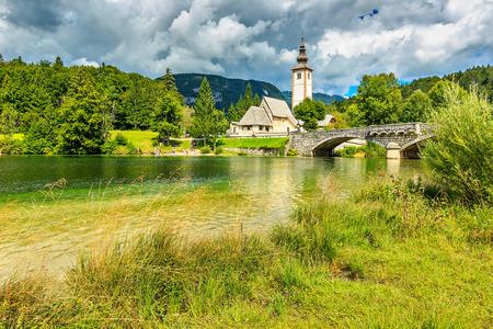 bohinj: Church and stone bridge,Ribicev Laz,Lake Bohinj,Slovenia,Europe