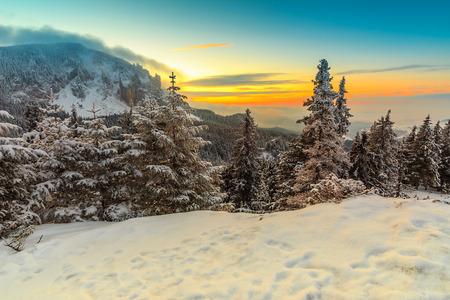 transylvania: Beautiful winter landscape at sunrise in the mountains,Carpathians,Transylvania,Romania,Europe Stock Photo