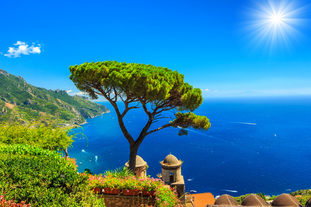 europe: Beautiful flowers and wonderful garden terrace of Villa Rufolo,Ravello,Amalfi coast,Italy,Europe