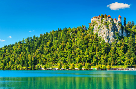 bled: Lake Bled with castle,Slovenia,Europe Stock Photo