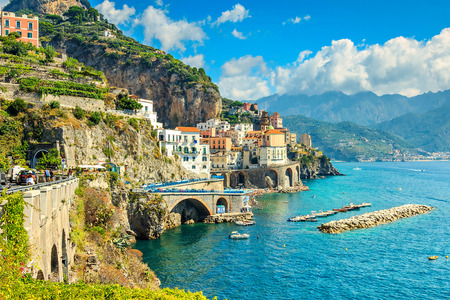 Beautiful bay and famous resort of Amalfi,Campania region,Italy,Europe 스톡 콘텐츠
