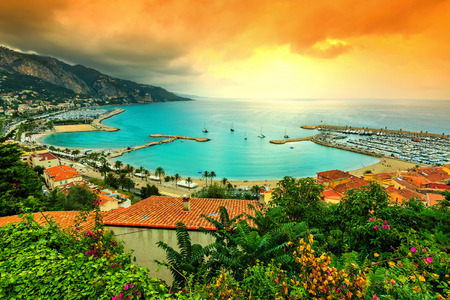 Famous beach and coastline with beautiful sunset,Menton,Azur coast,France,Europe