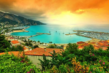 azur: Famous beach and coastline with beautiful sunset,Menton,Azur coast,France,Europe