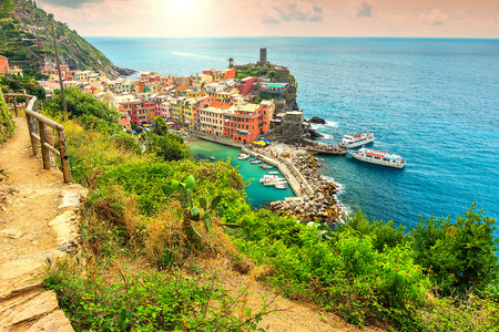 vernazza: Panorama of Vernazza and majestic sunset,Cinque Terre National Park,Liguria,Italy,Europe