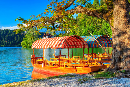 bled: Wooden boats with striped roof,Lake Bled,Slovenia,Europe