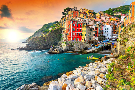 Panorama of Riomaggiore and wonderful sunset,Cinque Terre National Park,Liguria,Italy,Europe Banque d'images