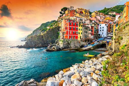 Panorama of Riomaggiore and wonderful sunset,Cinque Terre National Park,Liguria,Italy,Europe Standard-Bild