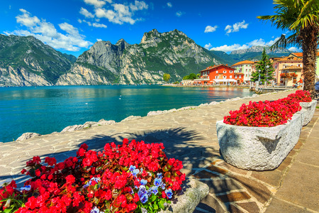 High mountains and walkway on the shore,Lake Garda,Italy,Europe