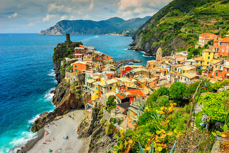 cinque: Panorama of Vernazza and colorful houses,Cinque Terre National Park,Liguria,Italy,Europe