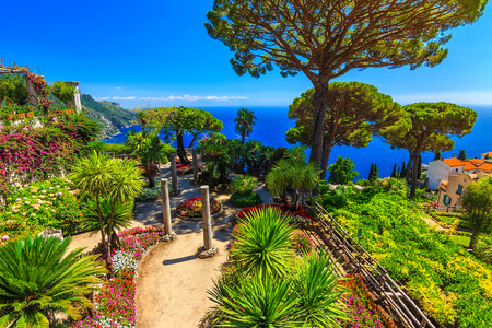 stunning: Romantic walkway and ornamental garden with colorful flowers,Villa Rufolo,Ravello,Amalfi coast,Italy,Europe