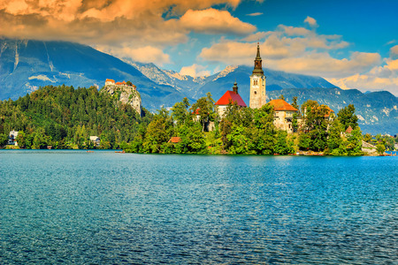 bled: Lake Bled with St Marys church and Bled castle,Slovenia,Europe Stock Photo