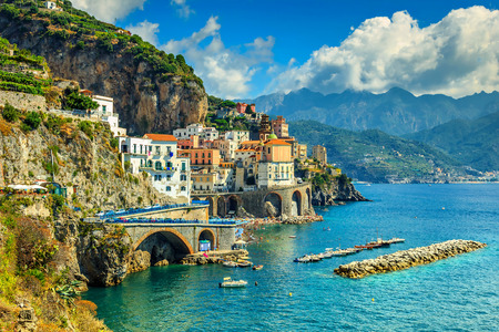 Beautiful bay and famous stunning resort of Amalfi,Campania region,Italy,Europe Banque d'images