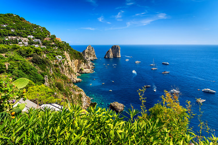 Faraglioni cliffs panorama,and the stunning Tyrrhenian sea,Capri island,Campania,Italy,Europe
