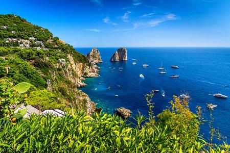 Faraglioni cliffs panorama,and the stunning Tyrrhenian sea,Capri island,Campania,Italy,Europe