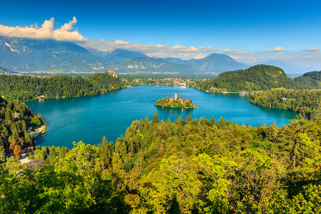 bled: Lake Bled with St Marys church on the small island,Bled,Slovenia,Europe Stock Photo
