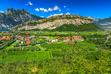 garda: Stunning panorama of Torbole town and gardens,Northern Italy,Europe