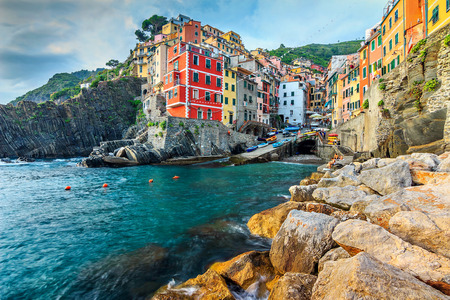 vernazza: Panorama of Riomaggiore and stunning colorful buildings,Cinque Terre National Park,Liguria,Italy,Europe Stock Photo