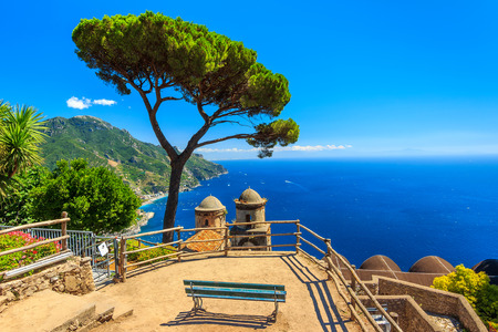 Stunning relaxation place with bench and wonderful panorama,Villa Rufolo,Ravello,Amalfi coast,Italy,Europe