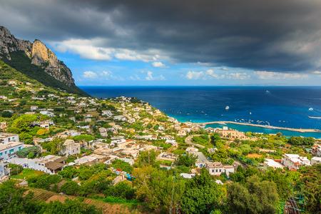 tyrrhenian: Medieval town and white houses with majestic panorama of Tyrrhenian sea,Capri island,Campania,Italy,Europe