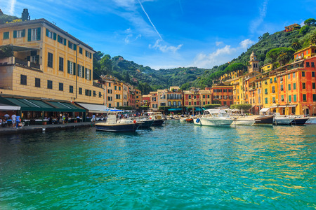 Portofino panorama,luxury harbor and colorful houses,Liguria,Italy,Europe