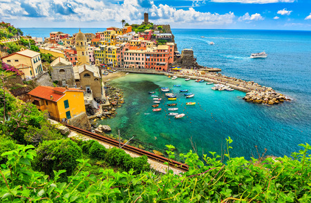 cinque: Stunning panorama of Vernazza and suspended garden,Cinque Terre National Park,Liguria,Italy,Europe