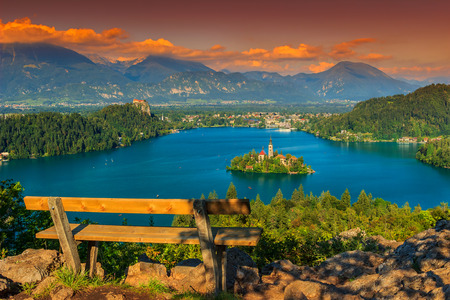 beautiful scenery: Lake Bled with St Marys church on the small island and stunning sunset,Bled,Slovenia,Europe