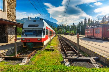 narrow gauge railroad: High speed electric train at the station,Strbske Pleso,Vysoke Tatry (High Tatras),Slovakia,Europe