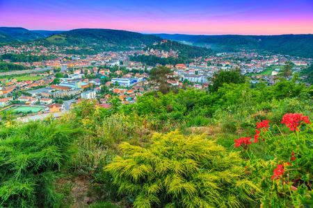 transylvania: Stunning sunset and beautiful city panorama,Sighisoara,Transylvania,Romania,Europe