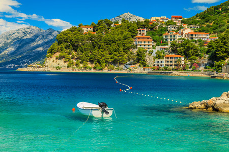 Stunning summer landscape with Adriatic Sea,Biokovo mountains and wonderful bay,Brela beach,Dalmatia,Croatia,Europe Stok Fotoğraf