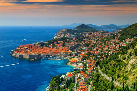 Stunning panorama of Dubrovnik with old town and Adriatic sea,Dalmatia,Croatia,Europe 版權商用圖片