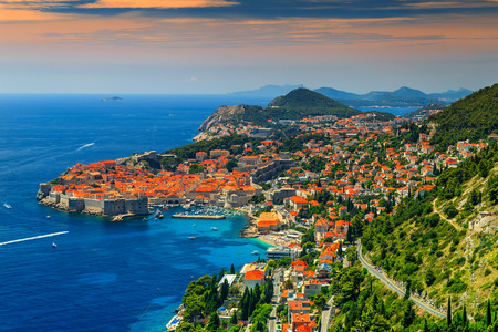 Stunning panorama of Dubrovnik with old town and Adriatic sea,Dalmatia,Croatia,Europe Banque d'images