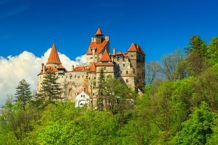 bran: Bran castle and summer landscape,Transylvania,Romania