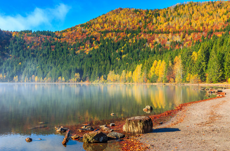 climate morning: Stunning misty autumn morning,Saint Ana Lake,Transylvania,Romania,Europe