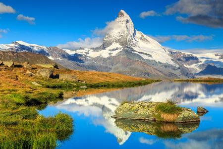 valais: Stunning panorama with Matterhorn and beautiful alpine lake,Stellisee,Valais region,Switzerland,Europe