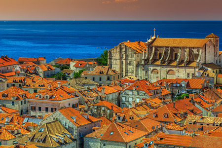 mediterranean houses: Traditional Mediterranean houses with red tiled roofs,Dubrovnik,Dalmatia,Croatia,Europe