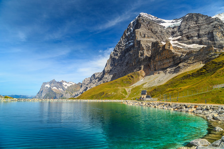 stunning: Stunning alpine lake with high mountains and famous peaks,Kleine Scheidegg,Bernese Oberland,Switzerland,Europe